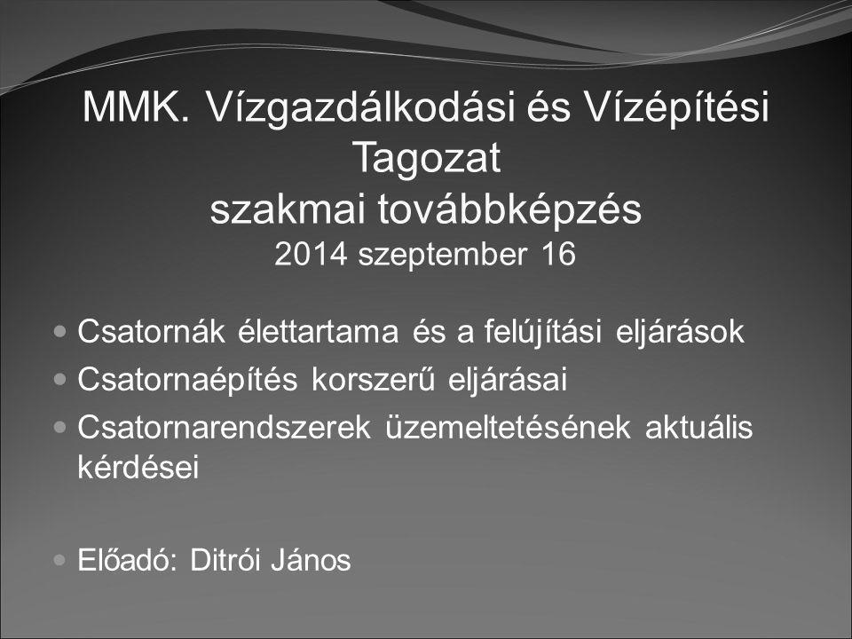 MMK. Vízgazdálkodási és Vízépítési Tagozat szakmai továbbképzés 2014 szeptember 16 Csatornák élettartama és a felújítási eljárások Csatornaépítés kors