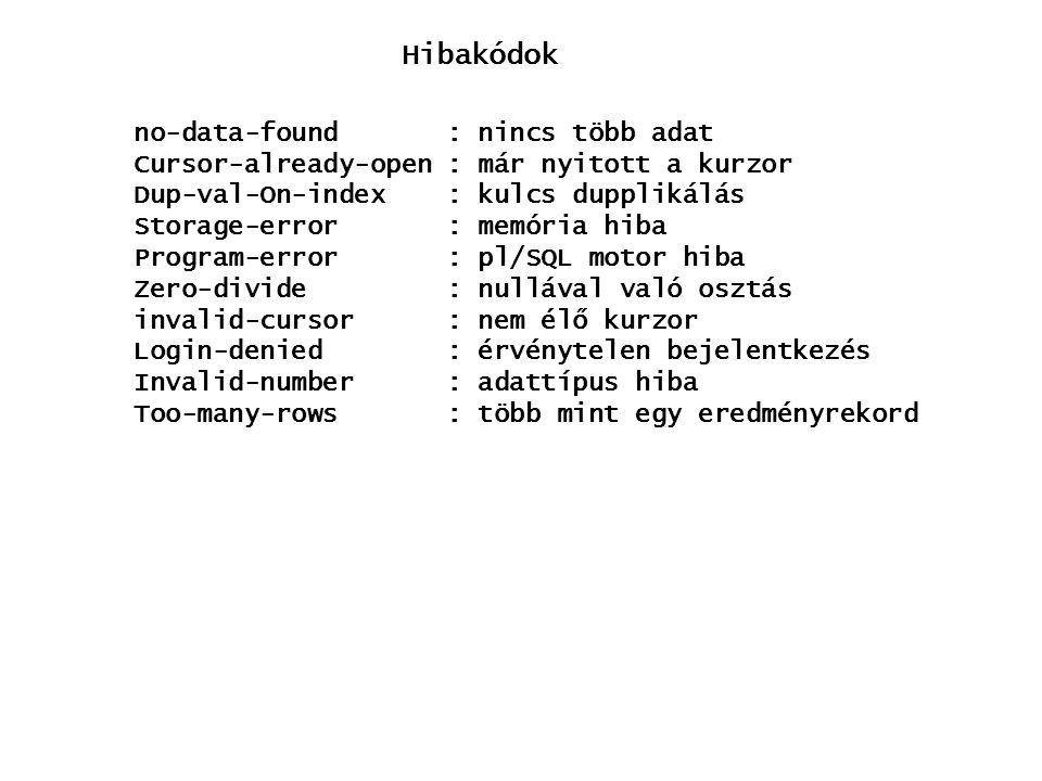 Hibakódok no-data-found: nincs több adat Cursor-already-open: már nyitott a kurzor Dup-val-On-index: kulcs dupplikálás Storage-error : memória hiba Program-error : pl/SQL motor hiba Zero-divide : nullával való osztás invalid-cursor : nem élő kurzor Login-denied : érvénytelen bejelentkezés Invalid-number : adattípus hiba Too-many-rows : több mint egy eredményrekord