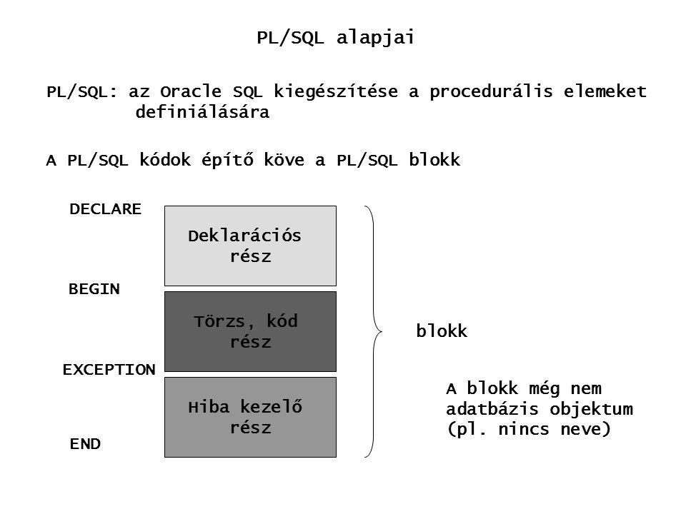 PL/SQL alapjai PL/SQL: az Oracle SQL kiegészítése a procedurális elemeket definiálására A PL/SQL kódok építő köve a PL/SQL blokk Hiba kezelő rész Törzs, kód rész Deklarációs rész blokk DECLARE BEGIN EXCEPTION END A blokk még nem adatbázis objektum (pl.