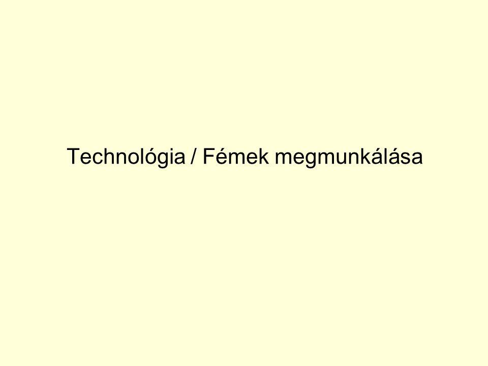 Anyagkörfolyamat Ahhoz, hogy a technológia fogalmát megértsük a Földön található anyagok folyamatos átalakulását, átalakítását kell megértenünk: FÖLD ↓ pl.: bányatechnológia nyersanyag (ércek, természetes anyagok, stb.) ↓ pl.: kohászati technológia szerkezeti anyag (fémek, kerámiák, műanyagok, stb.) ↓ pl.: gyártástechnológia műszaki termék ↓ műszaki funkció, üzemeltetés hulladék ↓ tárolás FÖLD v.
