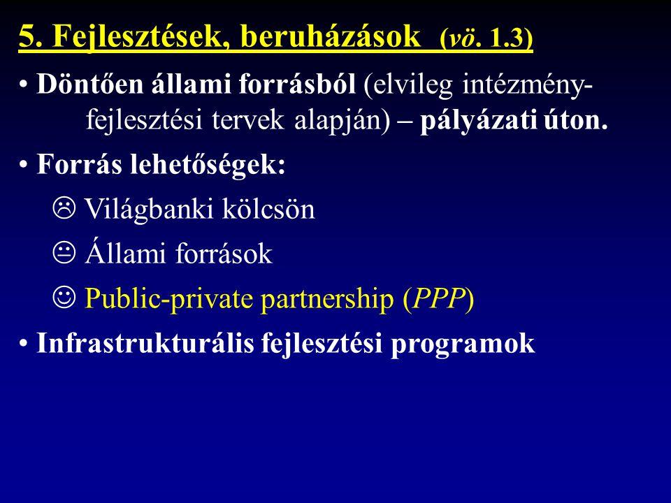 5. Fejlesztések, beruházások (vö.