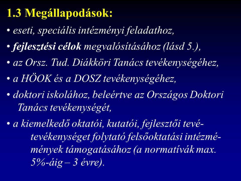 1.3 Megállapodások: eseti, speciális intézményi feladathoz, fejlesztési célok megvalósításához (lásd 5.), az Orsz.