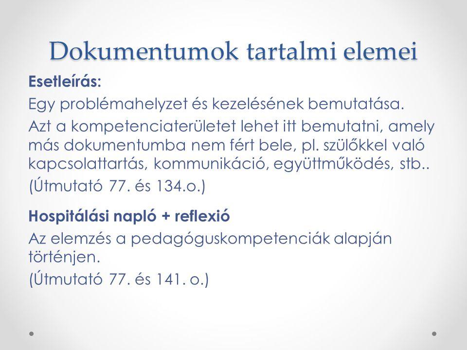 Dokumentumok tartalmi elemei Esetleírás: Egy problémahelyzet és kezelésének bemutatása. Azt a kompetenciaterületet lehet itt bemutatni, amely más doku