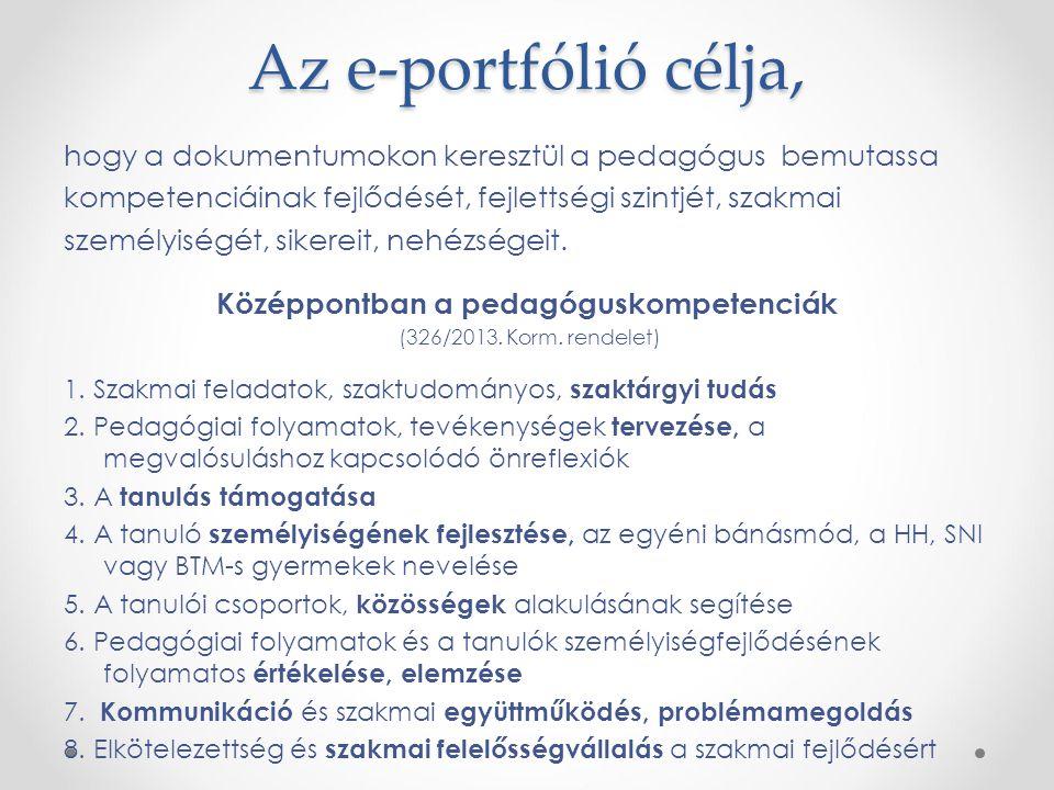 Az e-portfólió célja, hogy a dokumentumokon keresztül a pedagógus bemutassa kompetenciáinak fejlődését, fejlettségi szintjét, szakmai személyiségét, s