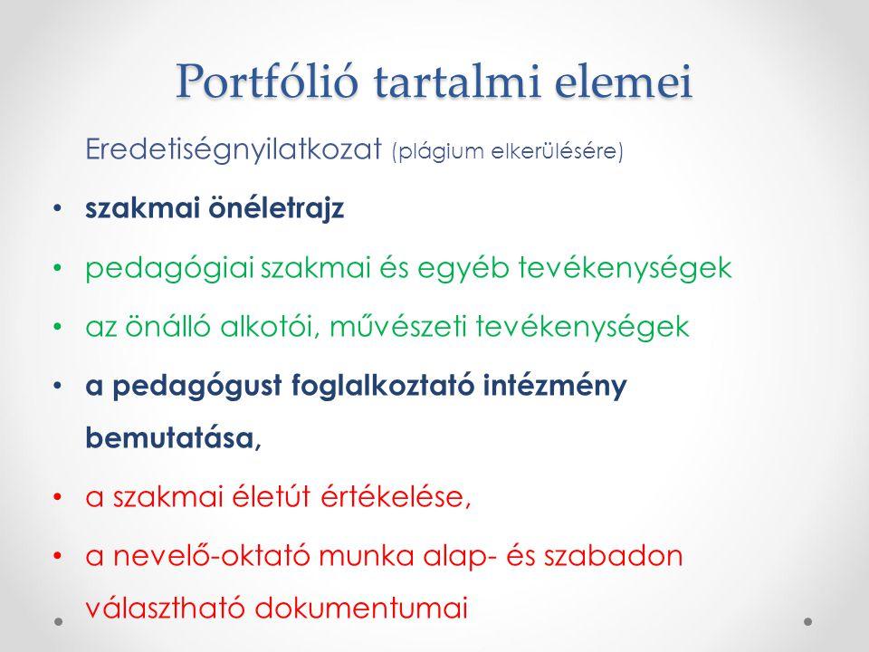 Portfólió tartalmi elemei Eredetiségnyilatkozat (plágium elkerülésére) szakmai önéletrajz pedagógiai szakmai és egyéb tevékenységek az önálló alkotói,