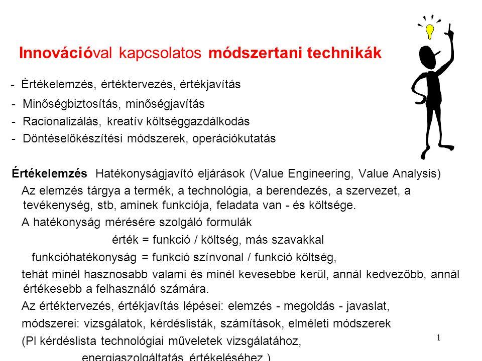 1 Innovációval kapcsolatos módszertani technikák - Értékelemzés, értéktervezés, értékjavítás - Minőségbiztosítás, minőségjavítás - Racionalizálás, kre