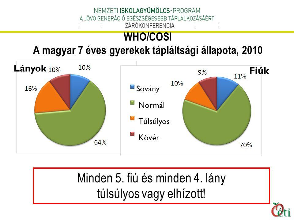 WHO/COSI A magyar 7 éves gyerekek tápláltsági állapota, 2010 Minden 5.