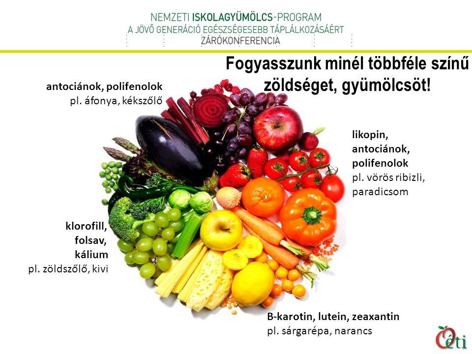 klorofill, folsav, kálium pl.zöldszőlő, kivi likopin, antociánok, polifenolok pl.