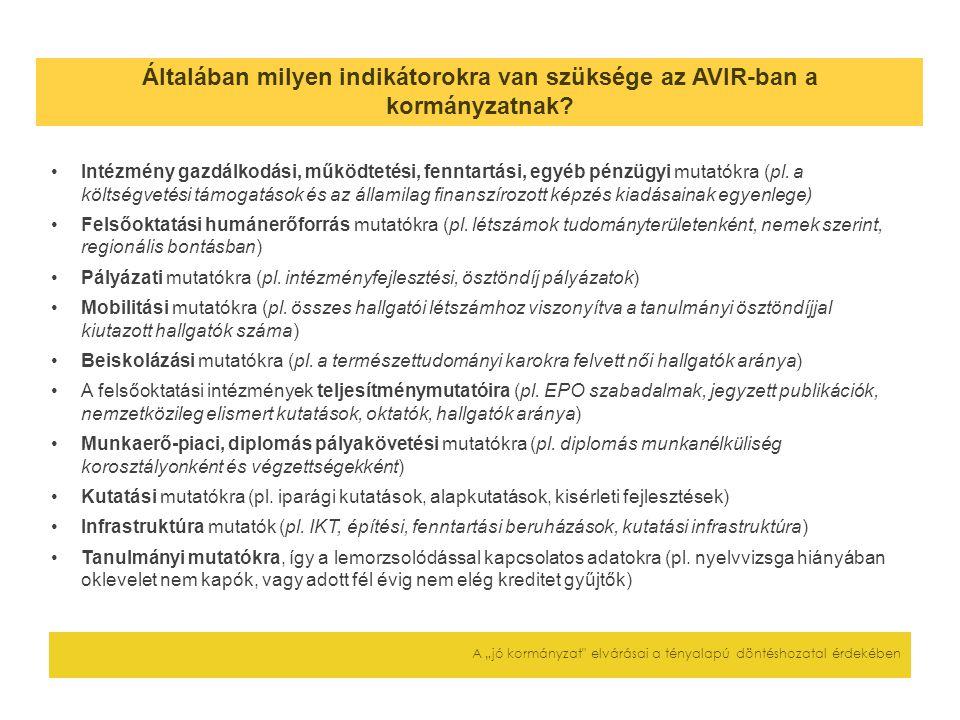 """Általában milyen indikátorokra van szüksége az AVIR-ban a kormányzatnak? A """"jó kormányzat"""