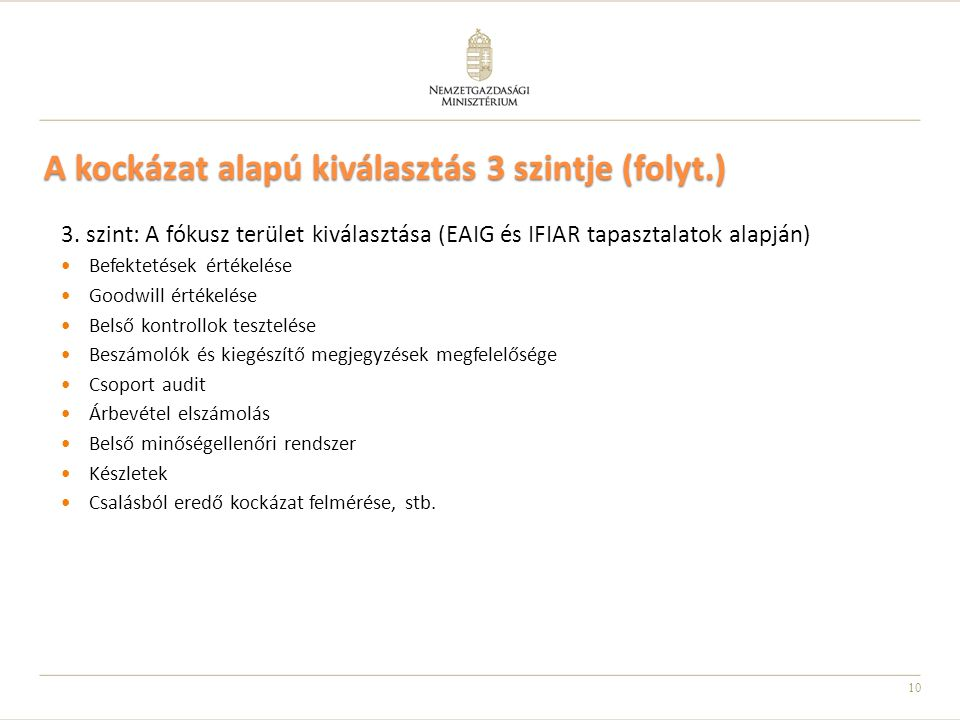 10 A kockázat alapú kiválasztás 3 szintje (folyt.) 3. szint: A fókusz terület kiválasztása (EAIG és IFIAR tapasztalatok alapján) Befektetések értékelé