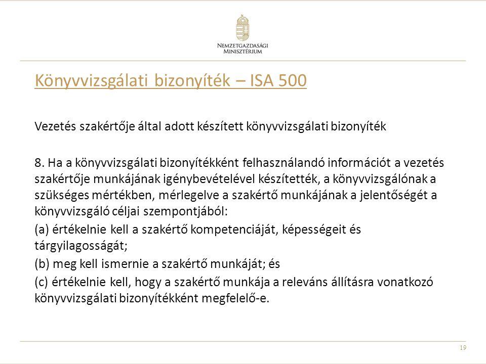 19 Könyvvizsgálati bizonyíték – ISA 500 Vezetés szakértője által adott készített könyvvizsgálati bizonyíték 8. Ha a könyvvizsgálati bizonyítékként fel