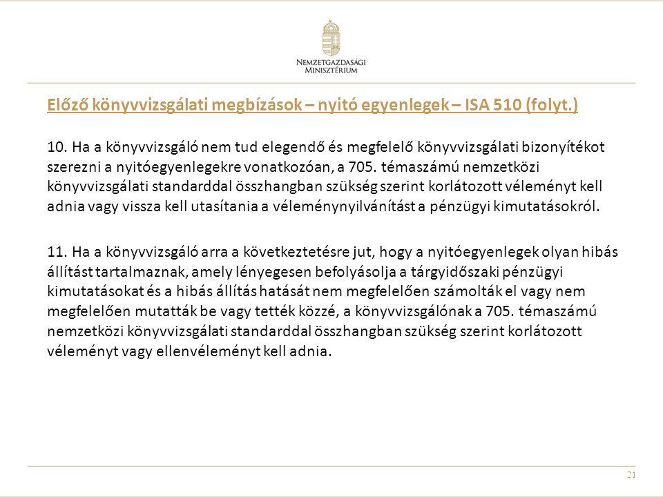 21 Előző könyvvizsgálati megbízások – nyitó egyenlegek – ISA 510 (folyt.) 10. Ha a könyvvizsgáló nem tud elegendő és megfelelő könyvvizsgálati bizonyí