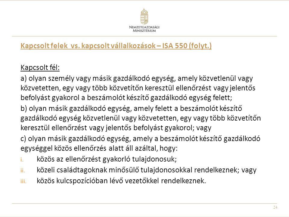 24 Kapcsolt felek vs. kapcsolt vállalkozások – ISA 550 (folyt.) Kapcsolt fél: a) olyan személy vagy másik gazdálkodó egység, amely közvetlenül vagy kö
