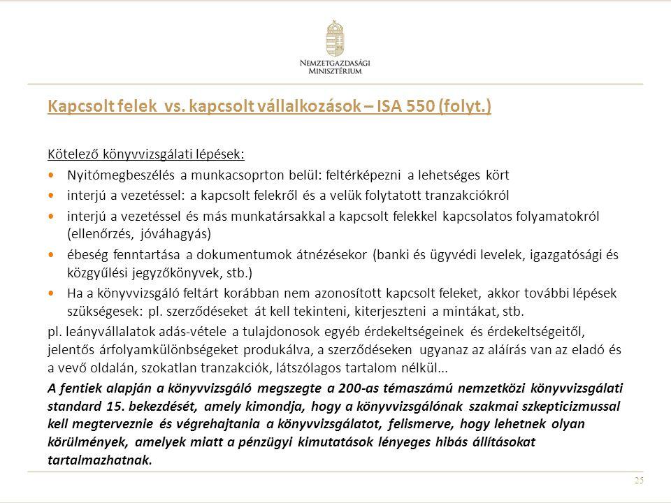 25 Kapcsolt felek vs. kapcsolt vállalkozások – ISA 550 (folyt.) Kötelező könyvvizsgálati lépések: Nyitómegbeszélés a munkacsoprton belül: feltérképezn