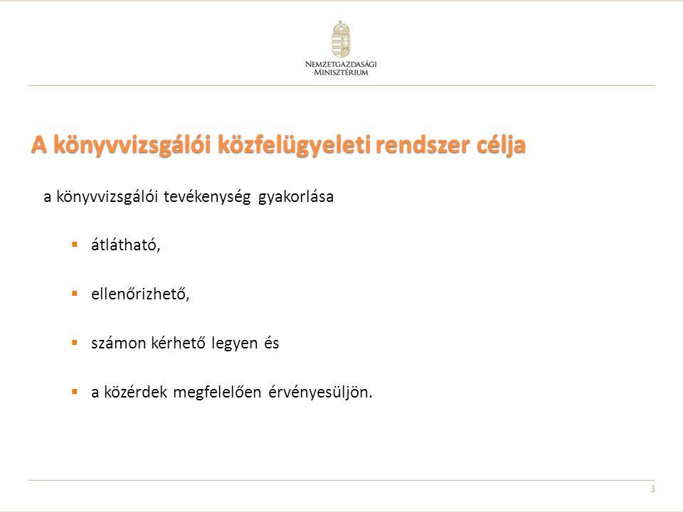 4 Közfelügyeleti hatóság feladatai (1) Vizsgálja és értékeli a könyvvizsgálói közfelügyeleti rendszer részelemeit  a könyvvizsgálói tevékenység végzésének engedélyezését, a kamarai nyilvántartások vezetését,  a magyar nemzeti könyvvizsgálati standardok, a kamara etikai szabályzata, valamint a belső minőségellenőrzésre vonatkozó nemzeti standardok kialakítását, elfogadását,  a szakmai továbbképzési rendszer és a minőségbiztosítási rendszer működését,  a fegyelmi eljárásokat.