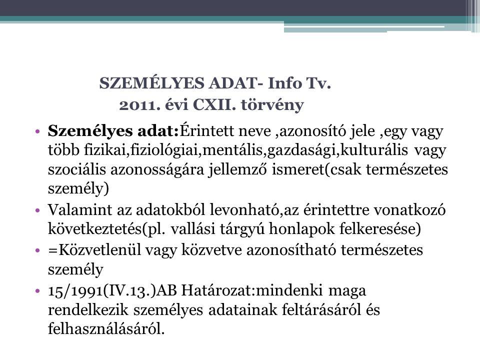 SZEMÉLYES ADAT- Info Tv. 2011. évi CXII. törvény Személyes adat:Érintett neve,azonosító jele,egy vagy több fizikai,fiziológiai,mentális,gazdasági,kult