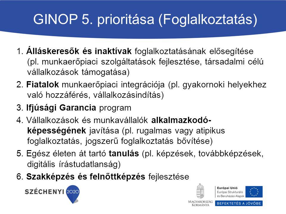 GINOP 5.prioritása (Foglalkoztatás) 1.