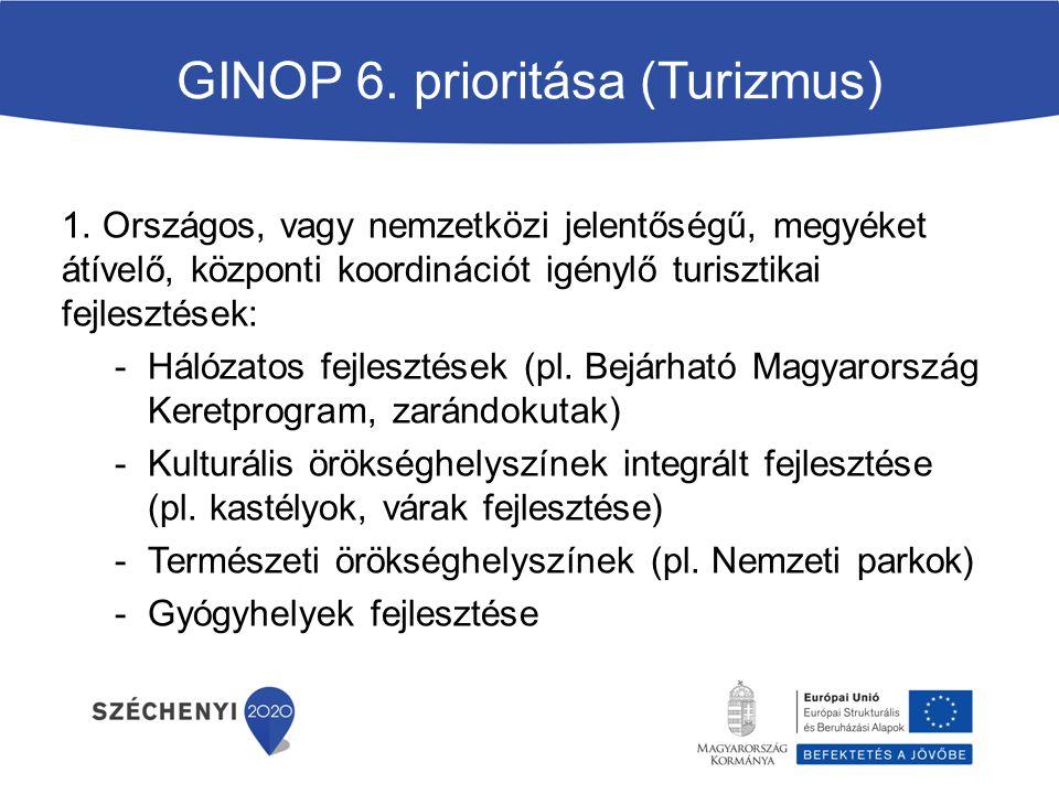 GINOP 6.prioritása (Turizmus) 1.
