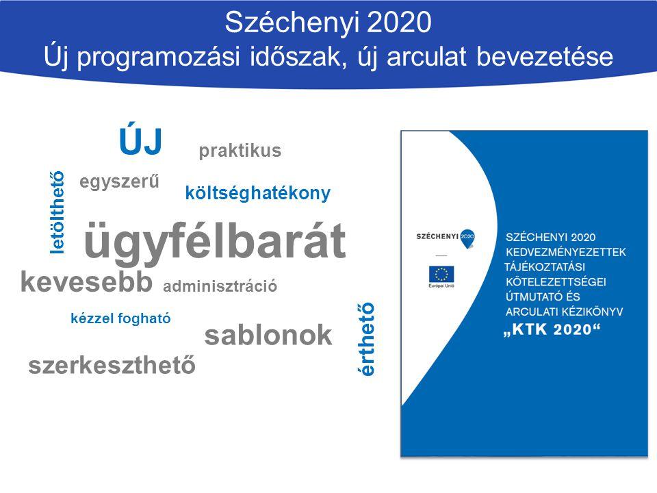 Széchenyi 2020 Új programozási időszak, új arculat bevezetése ÚJ praktikus érthető letölthető kevesebb adminisztráció kézzel fogható ügyfélbarát egyszerű költséghatékony szerkeszthető sablonok