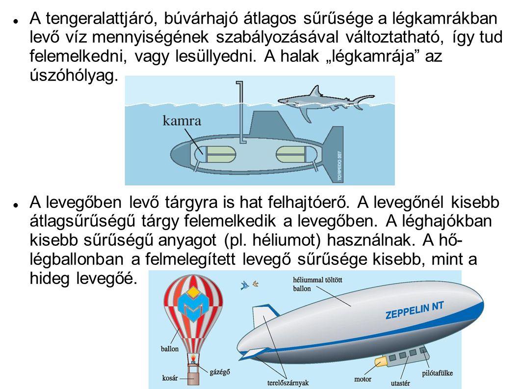 A tengeralattjáró, búvárhajó átlagos sűrűsége a légkamrákban levő víz mennyiségének szabályozásával változtatható, így tud felemelkedni, vagy lesüllye