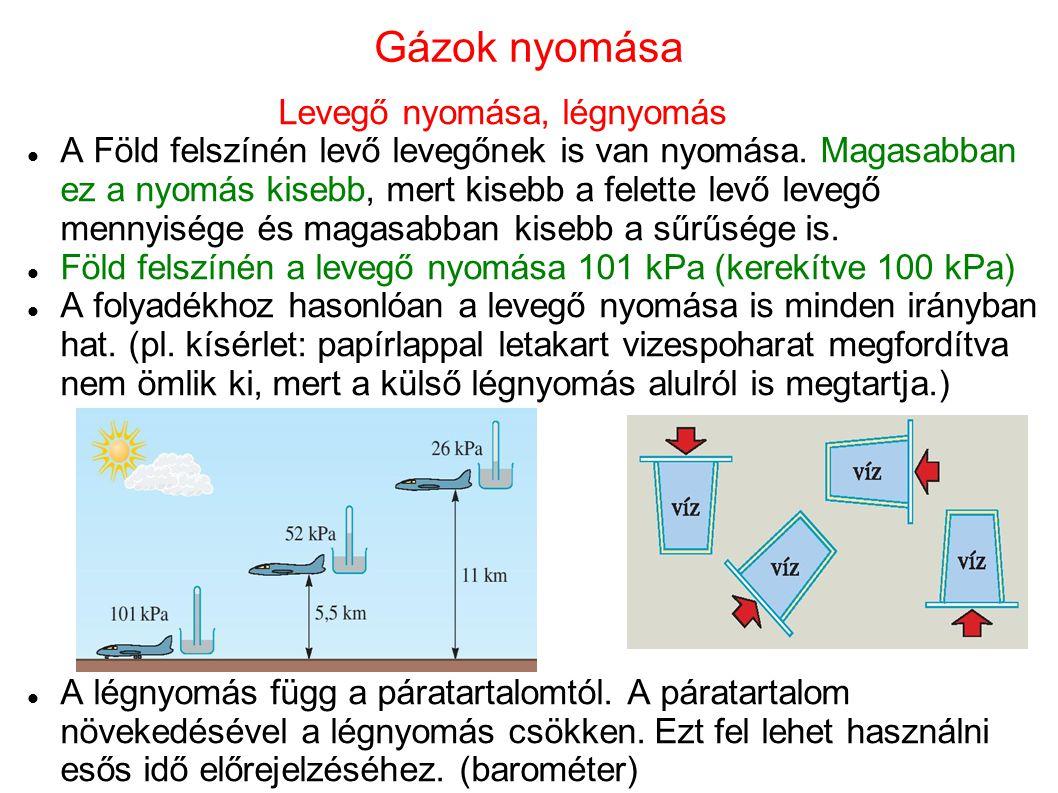 Gázok nyomása Levegő nyomása, légnyomás A Föld felszínén levő levegőnek is van nyomása. Magasabban ez a nyomás kisebb, mert kisebb a felette levő leve
