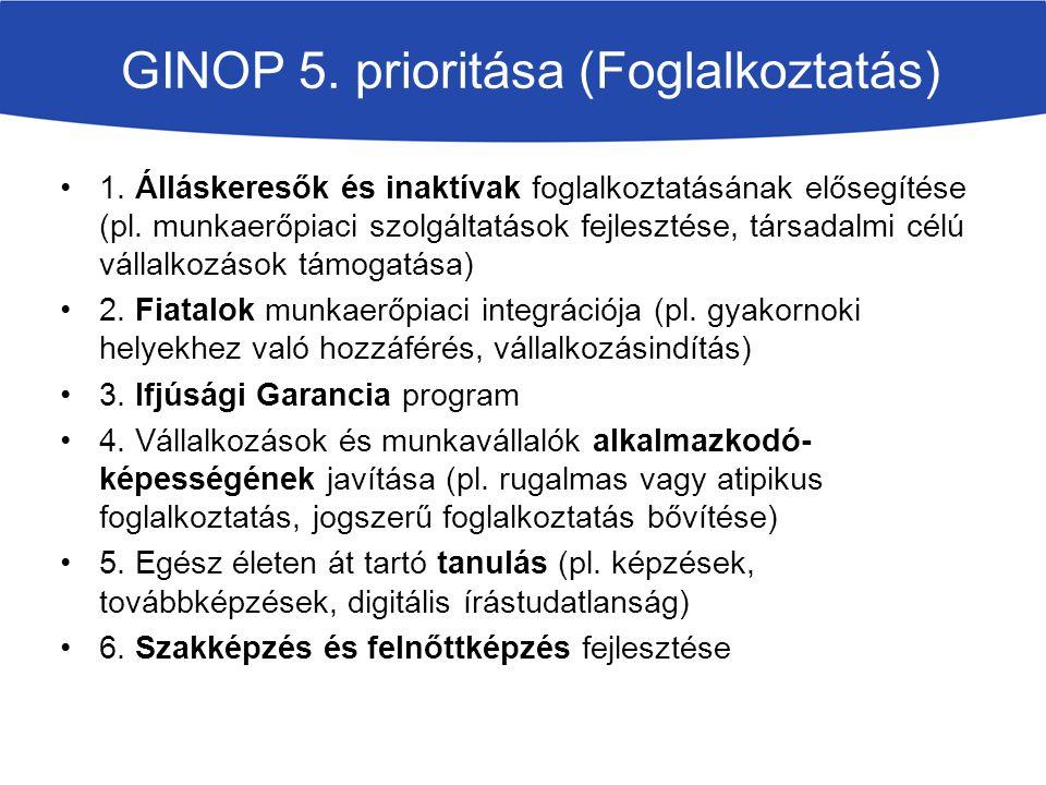GINOP 5. prioritása (Foglalkoztatás) 1. Álláskeresők és inaktívak foglalkoztatásának elősegítése (pl. munkaerőpiaci szolgáltatások fejlesztése, társad