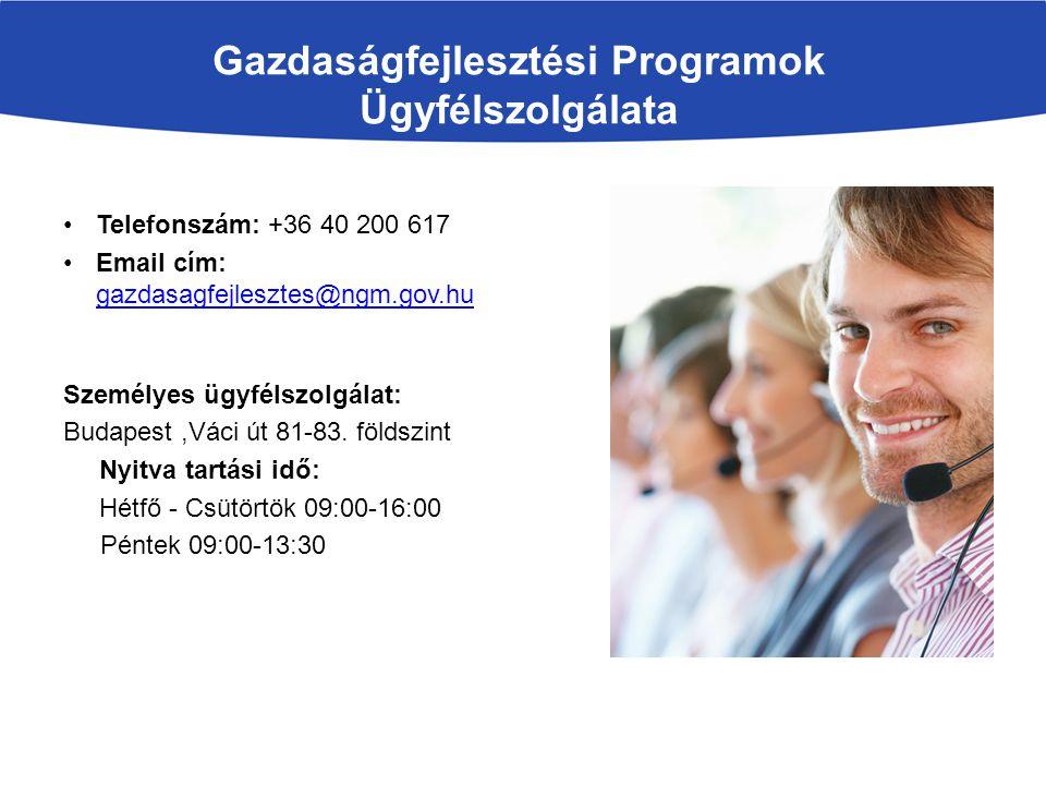 Gazdaságfejlesztési Programok Ügyfélszolgálata Telefonszám: +36 40 200 617 Email cím: gazdasagfejlesztes@ngm.gov.hu gazdasagfejlesztes@ngm.gov.hu Szem