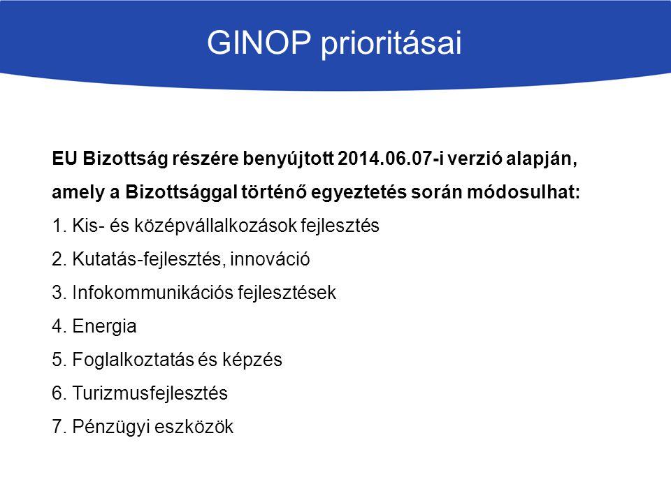 GINOP prioritásai EU Bizottság részére benyújtott 2014.06.07-i verzió alapján, amely a Bizottsággal történő egyeztetés során módosulhat: 1. Kis- és kö