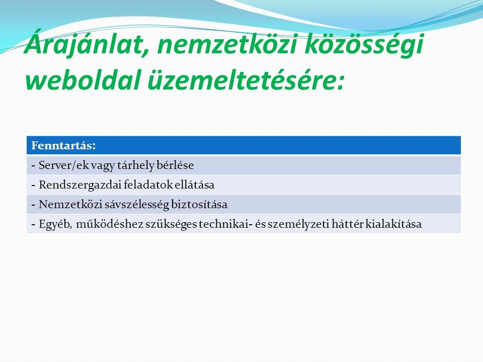 Árajánlat, nemzetközi közösségi weboldal üzemeltetésére: Fenntartás: - Server/ek vagy tárhely bérlése - Rendszergazdai feladatok ellátása - Nemzetközi