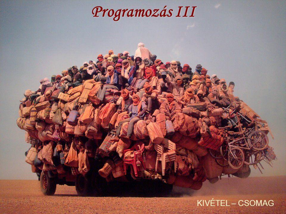 CSOMAGOK - IMPORT Egyenkénti import: minden osztályt egyenként importálunk pl.: import [csomag1.[csomag2]…].Osztály; Igény szerinti import: import [csomag1.[csomag2]…].*; a * (joker) karakterrel az összes osztályt importáljuk – ugyanúgy használható, mint könyvtár/fájl struktúrák esetén!