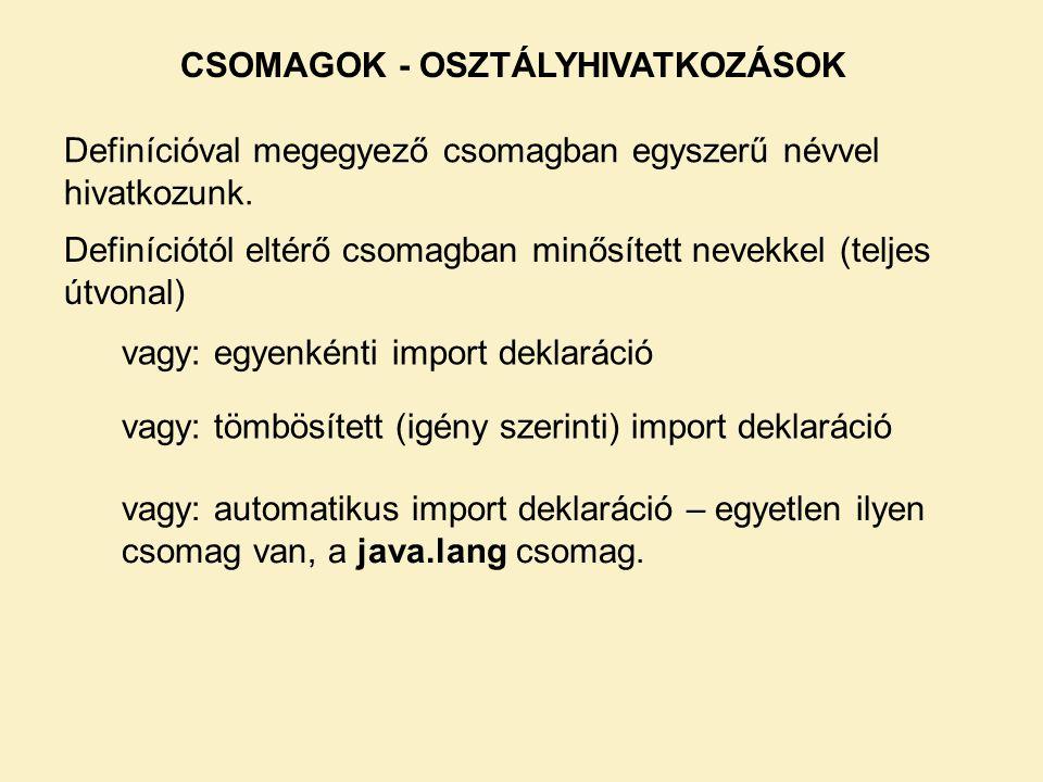 CSOMAGOK - OSZTÁLYHIVATKOZÁSOK Definícióval megegyező csomagban egyszerű névvel hivatkozunk.