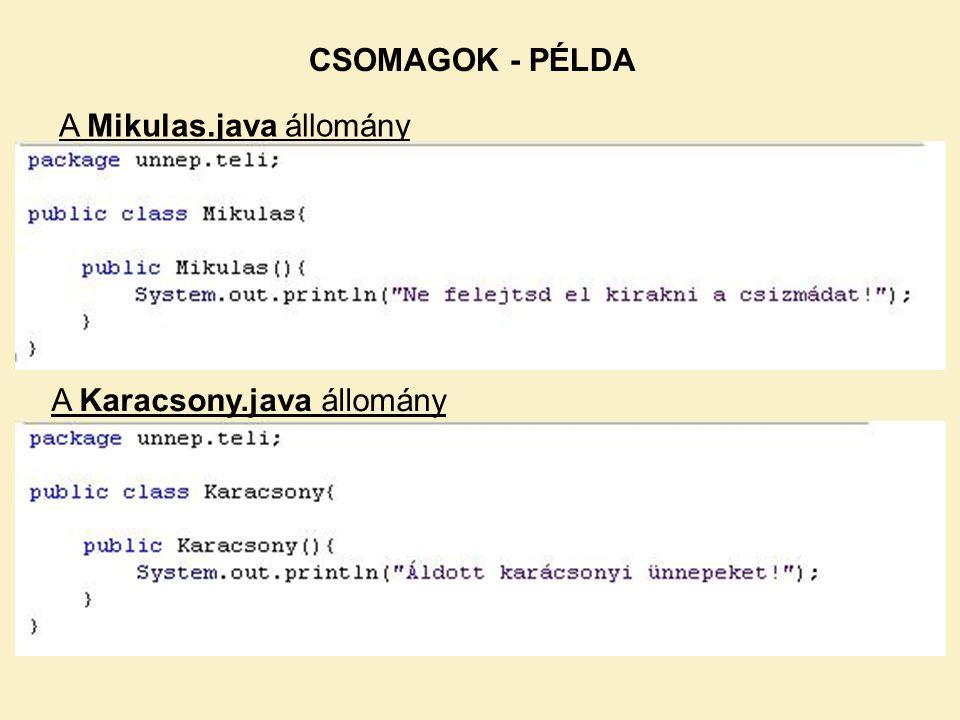 A Mikulas.java állomány A Karacsony.java állomány CSOMAGOK - PÉLDA