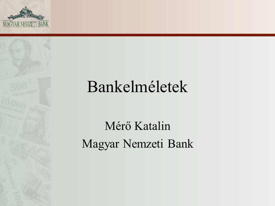 Bankelméletek Mérő Katalin Magyar Nemzeti Bank