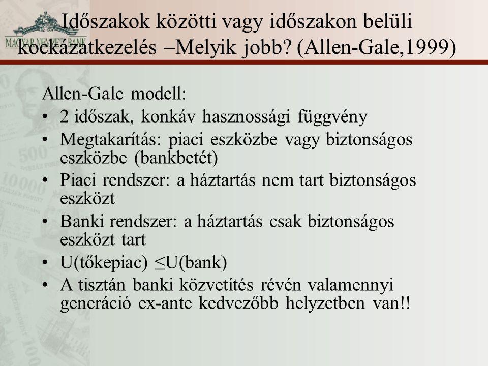 Időszakok közötti vagy időszakon belüli kockázatkezelés –Melyik jobb? (Allen-Gale,1999) Allen-Gale modell: 2 időszak, konkáv hasznossági függvény Megt