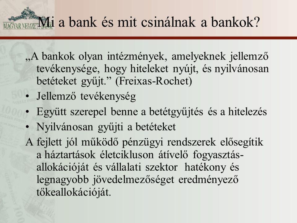 """Mi a bank és mit csinálnak a bankok? """"A bankok olyan intézmények, amelyeknek jellemző tevékenysége, hogy hiteleket nyújt, és nyilvánosan betéteket gyű"""