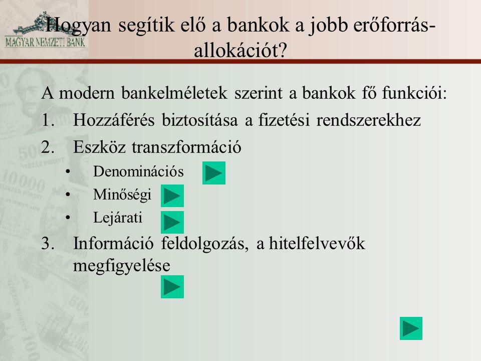 Hogyan segítik elő a bankok a jobb erőforrás- allokációt? A modern bankelméletek szerint a bankok fő funkciói: 1.Hozzáférés biztosítása a fizetési ren