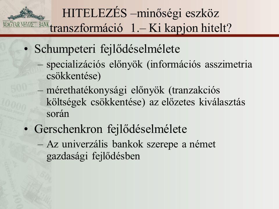 HITELEZÉS –minőségi eszköz transzformáció 1.– Ki kapjon hitelt? Schumpeteri fejlődéselmélete –specializációs előnyök (információs asszimetria csökkent