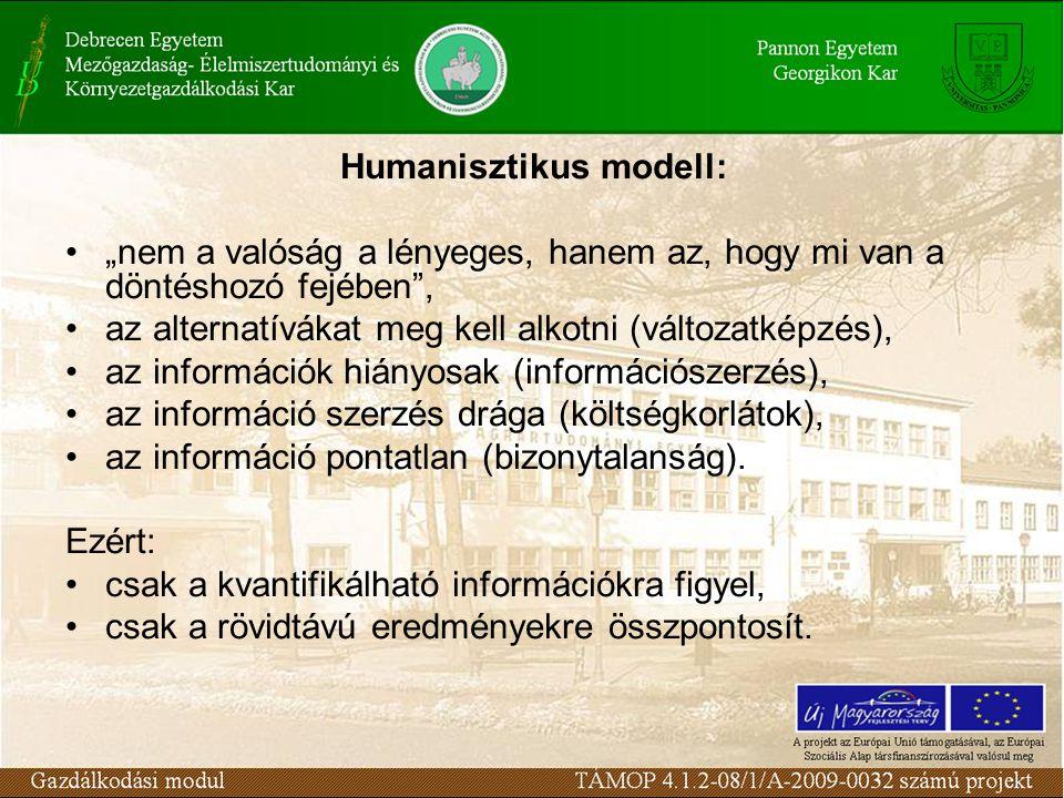 """Humanisztikus modell: """"nem a valóság a lényeges, hanem az, hogy mi van a döntéshozó fejében , az alternatívákat meg kell alkotni (változatképzés), az információk hiányosak (információszerzés), az információ szerzés drága (költségkorlátok), az információ pontatlan (bizonytalanság)."""