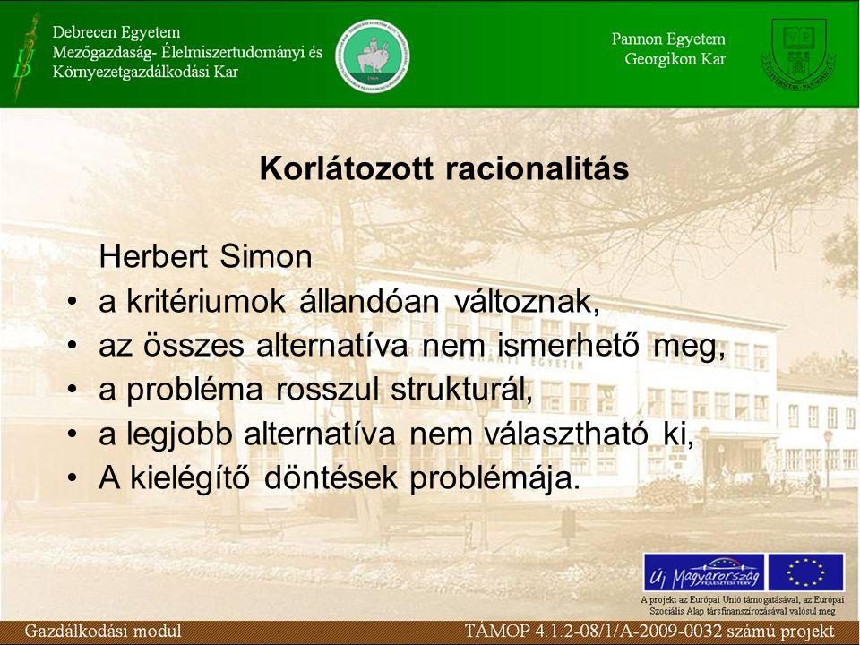 Korlátozott racionalitás Herbert Simon a kritériumok állandóan változnak, az összes alternatíva nem ismerhető meg, a probléma rosszul strukturál, a legjobb alternatíva nem választható ki, A kielégítő döntések problémája.