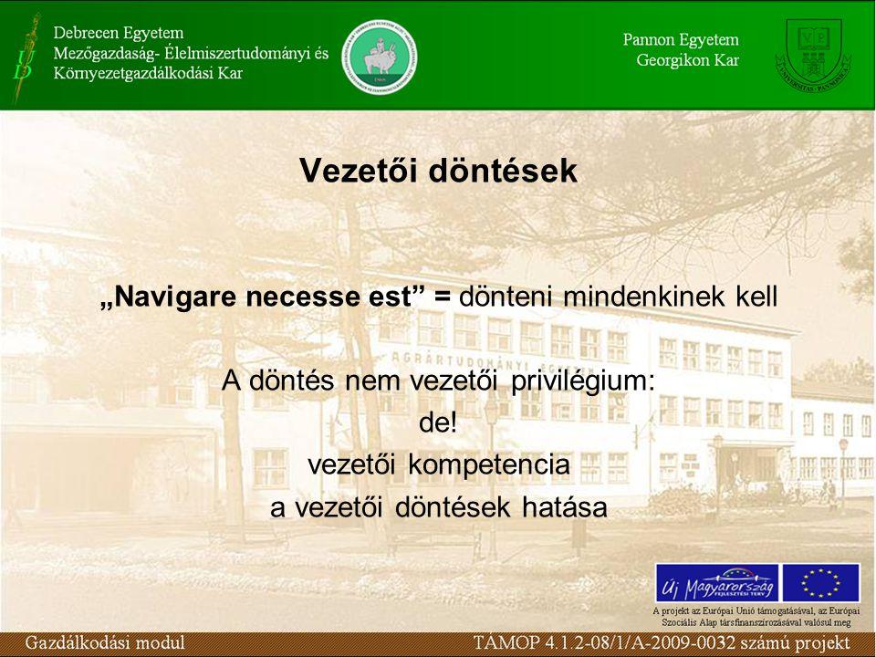 """Vezetői döntések """"Navigare necesse est = dönteni mindenkinek kell A döntés nem vezetői privilégium: de."""
