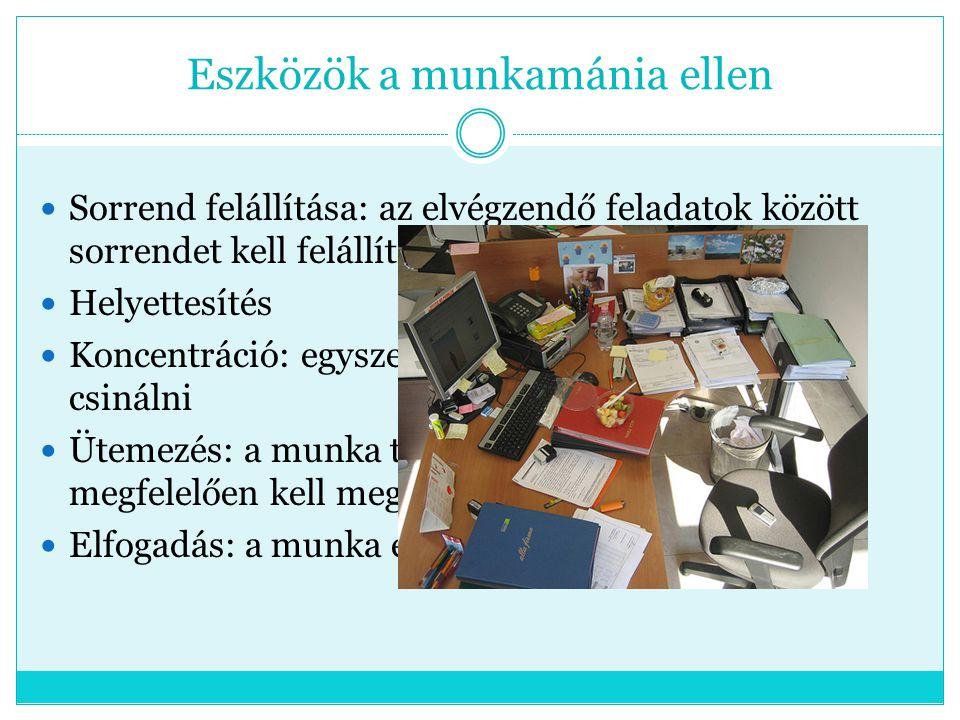 Eszközök a munkamánia ellen Sorrend felállítása: az elvégzendő feladatok között sorrendet kell felállítani Helyettesítés Koncentráció: egyszerre csak