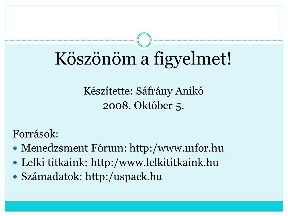 Köszönöm a figyelmet! Készítette: Sáfrány Anikó 2008. Október 5. Források: Menedzsment Fórum: http:/www.mfor.hu Lelki titkaink: http:/www.lelkititkain