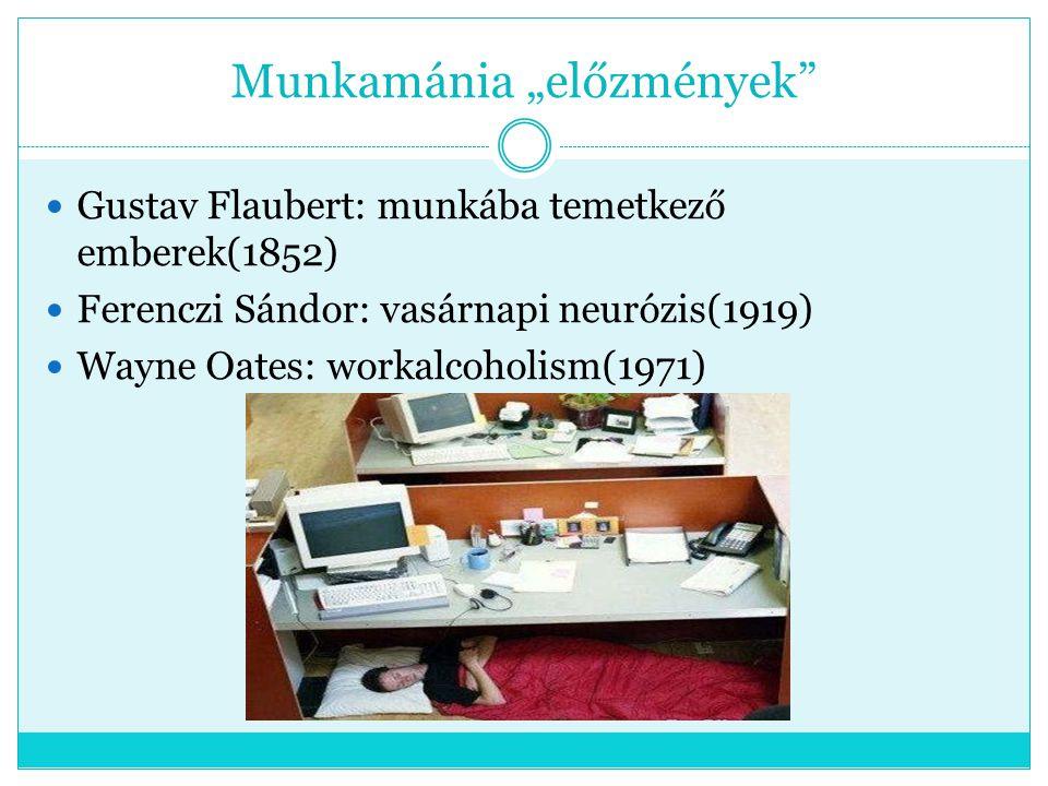 """Munkamánia """"előzmények"""" Gustav Flaubert: munkába temetkező emberek(1852) Ferenczi Sándor: vasárnapi neurózis(1919) Wayne Oates: workalcoholism(1971)"""