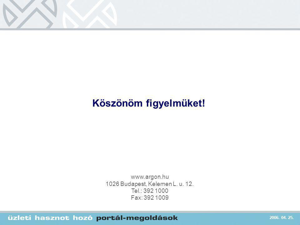 2006. 04. 25. www.argon.hu 1026 Budapest, Kelemen L. u. 12. Tel.: 392 1000 Fax: 392 1009 Köszönöm figyelmüket!