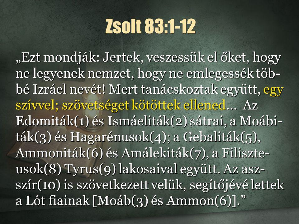 """Zsolt 83:1-12 """"Ezt mondják: Jertek, veszessük el őket, hogy ne legyenek nemzet, hogy ne emlegessék töb- bé Izráel nevét."""