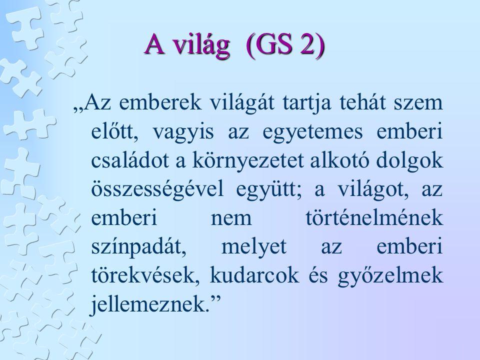 """A világ (GS 2) """"Az emberek világát tartja tehát szem előtt, vagyis az egyetemes emberi családot a környezetet alkotó dolgok összességével együtt; a vi"""