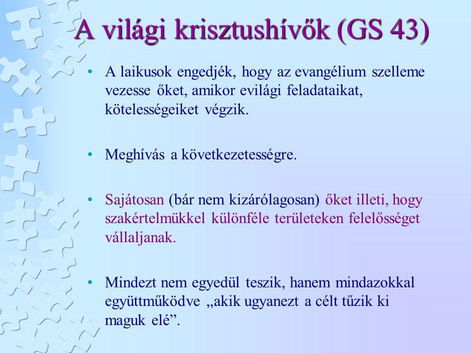 A világi krisztushívők (GS 43) A laikusok engedjék, hogy az evangélium szelleme vezesse őket, amikor evilági feladataikat, kötelességeiket végzik. Meg