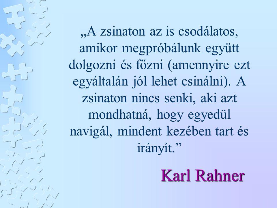 """Karl Rahner """"A zsinaton az is csodálatos, amikor megpróbálunk együtt dolgozni és főzni (amennyire ezt egyáltalán jól lehet csinálni). A zsinaton nincs"""