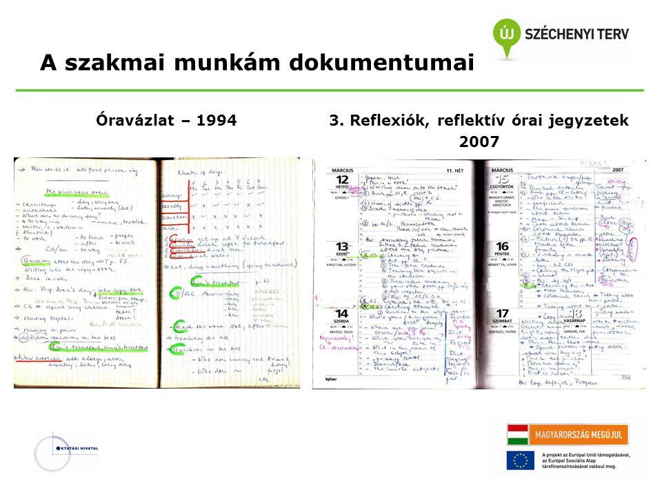 A szakmai munkám dokumentumai Óravázlat – 19943. Reflexiók, reflektív órai jegyzetek 2007