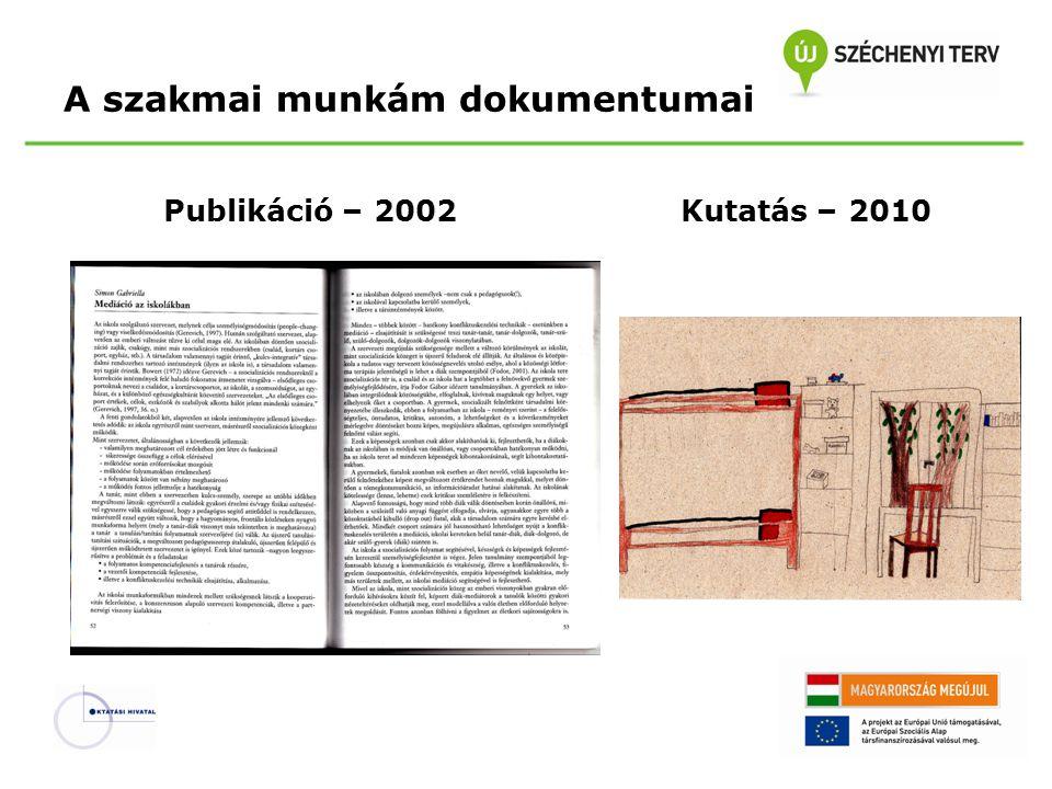 Publikáció – 2002Kutatás – 2010 A szakmai munkám dokumentumai